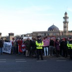 Crowds outside the mosque this afternoon<span class=