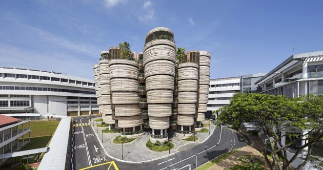 The university building that looks like sticks of bamboo