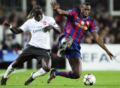 Yaya Toure facing current team-mate Bakary Sagna (then of Arsenal)