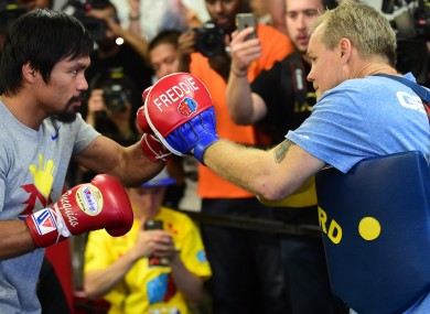 Manny Pacquiao and trainer Freddie Roach.
