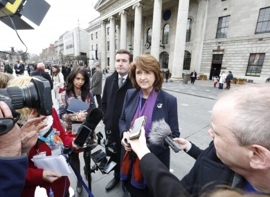 Joan Burton in Dublin today.
