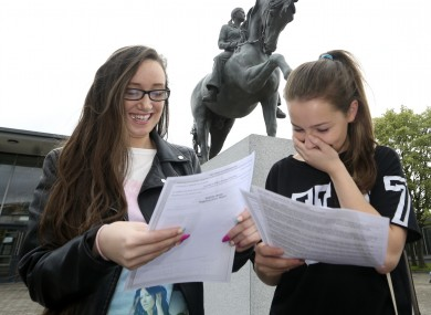 Nadine Drumgoole and Louise Moloney outside their School Trinity Comprehensive in Ballymun last year with their Leaving Cert Results.