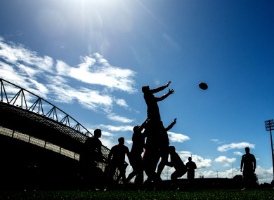 Munster forwards work on their set-piece at Thomond Park today.
