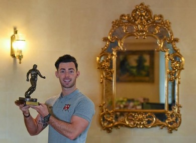 Towell receiving SSE Airtricity/SWAI Player of the month award for April yesterday.