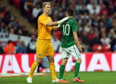 Joe Hart and Robbie Keane when the teams last met at Wembley in 2013.