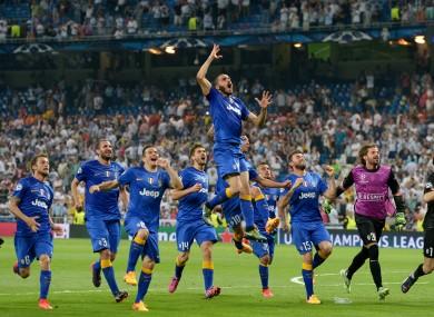 Celebration time for Juventus at the Bernabeu.
