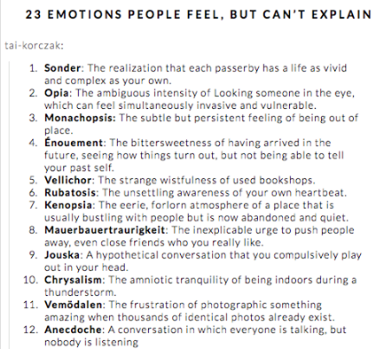 LIST OF FEELINGS