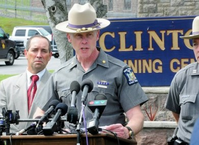 Charles Guest of the New York State Police speaks during a news conference after the escape.