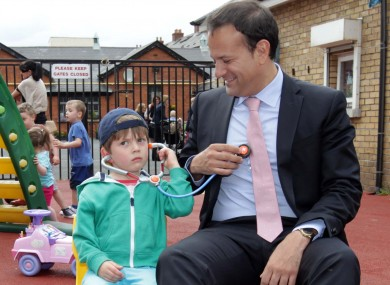 Minister Varadkar with four-year-old Oscar Power at the launch of the service last week.
