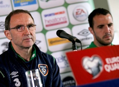 O'Neill and John O'Shea at the pre-match press conference in Dublin.
