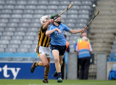 Dublin's David Burke battles it out against Kilkenny's Conor Doheny.