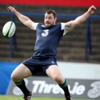 Cian Healy mucks around during Ireland's open training session in Cork this week.