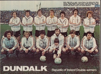 The Dundalk team for the 1979-80 season line out.