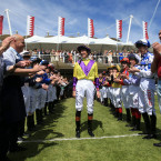 Richard Johnson is given a guard of honour by his fellow jockeys at Goodwood on his final day before retirement.