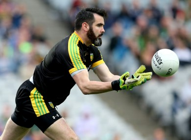 Paul Durcan in action for Donegal against Mayo in the All-Ireland quarter-final.