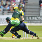 Australia's Steve Smith narrowly misses being run out during their defeat of Ireland in Belfast on Thursday.