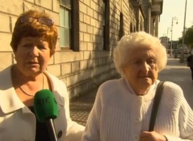 Peg and her daughter Ann Claxton outside court today