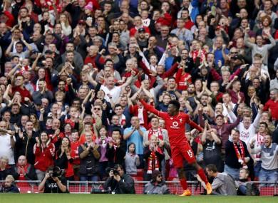 Liverpool's Daniel Sturridge celebrates his second goal.