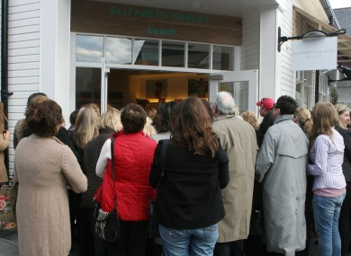 A large crowd gather outside Liz Hurleys opening of her new beach wear store at the Kildare Village in 2010.