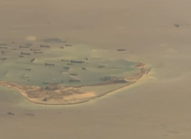 One of the artificial islands China is constructing.