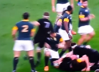 A still from the incident in which McCaw and Louw collided.