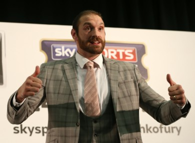 Tyson Fury during a press conference at the Hilton Syon Park, London.