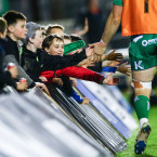 Some young Connacht fans get a piece of the action against Edinburgh.<span class=
