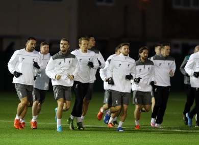 The Liverpool squad training at Melwood on Tuesday.