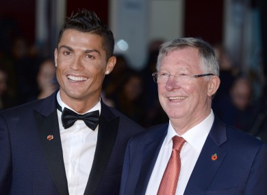 Ronaldo and Sir Alex Ferguson in London last night.