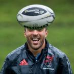 All smiles! Simon Zebo enjoys himself during Munster training in Limerick.<span class=