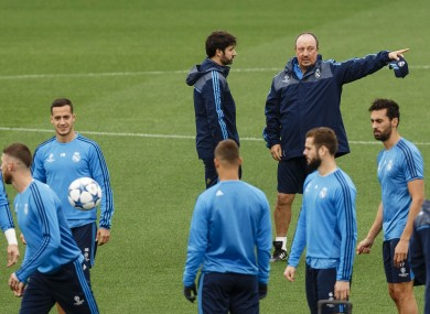Benitez preparing his team earlier this week.