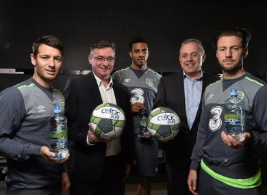 9 November 2015; Official water partner of FAI celebrate 15 years in business with (left to right) Wes Hoolahan, Liam Duffy, Business Development Manager / CFO Celtic Pure, Cyrus Christie, Padraig McEneaney, CEO Celtic Pure, and Harry Arter in National Sports Campus in Abbotstown. National Sports Campus, Abbotstown, Co. Dublin.