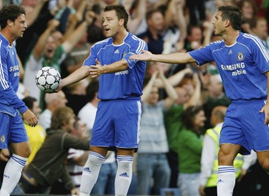 Wayne Bridge, John Terry and Frank Lampard representing Chelsea in 2006.