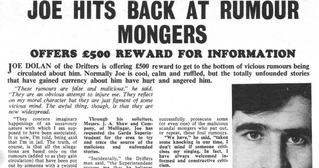 Joe Dolan placed this ad in 1968 offering a reward for information on rumours about him