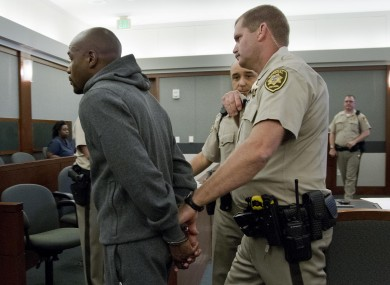 Floyd Mayweather Jr, left, is led away in 2012 to begin a 90-day jail term for attacking his ex-girlfriend in September 2010 while two of their children watched. The judge who sentenced Mayweather allowed him to remain free long enough to headline a 5 May fight.