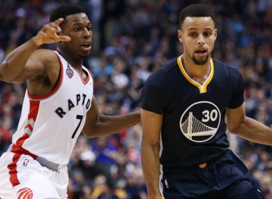 Golden State Warriors star Steph Curry and Kyle Lowry of the Toronto Raptors