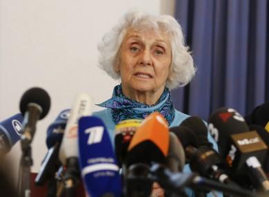 Eva Fahidi speaks to reporters in April 2015.