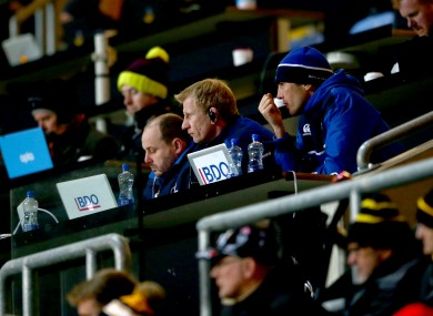 Leinster head coach Leo Cullen watches his side's game with Wasps.