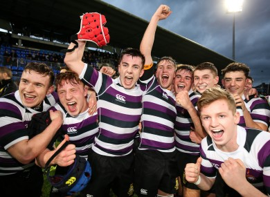 Terenure players celebrate after the game.