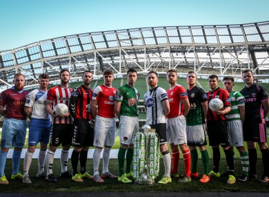 Players from the 12 Premier Division clubs at the Aviva Stadium today.