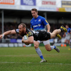 Exeter Chiefs' James Short dives over to score<span class=