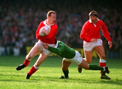 Paul Thorburn, Welsh Skipper, tackled, by Rob Saunders, Irish Skipper, during a 1991 Five Nations match at Cardiff Arms Park.