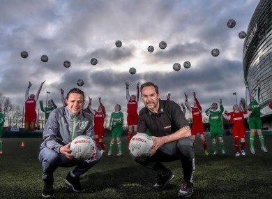 Former Liverpool player Jason McAteer pictured with Ireland Women's international Áine O'Gorman at an event to help launch the 2016 SPAR FAI Primary School 5s Programme.