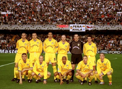Leeds United players line up ahead of their Champions League semi-final with Valencia.