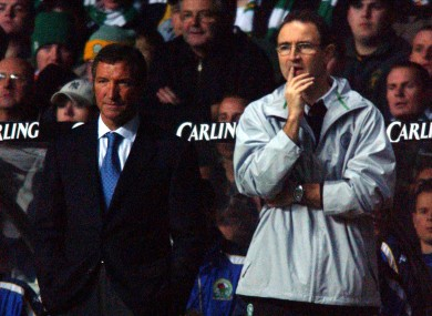 Blackburn Rovers' manager Graeme Souness and Celtic's boss Martin O'Neill watch on in a UEFA Cup match in 2002.