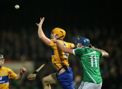 Cian Dillon in action for Clare against Limerick in the Munster senior league final in January.