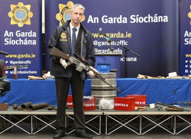 Detective Garda Shay O'Donnell with samples of weapons seized in 2014 and 2015.