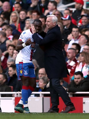 Bolasie is congratulated on his goal by Palace manager Alan Pardew.