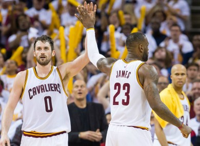 LeBron James and Kevin Love of the Cleveland Cavaliers during last night's game.