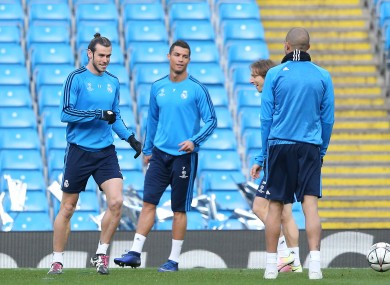 Bale, Ronaldo and Modric trained in Manchester this evening.